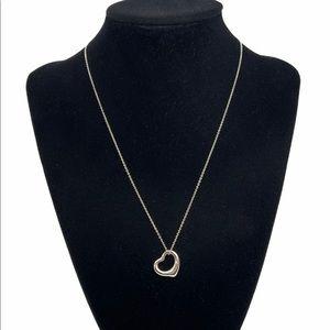 "Tiffany & Co. 16mm Open Heart Pendant Necklace 17"""
